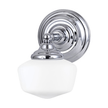 Sea Gull 44436-05 - Academy One Light Wall/Bath in Chrome with Satin White Schoolhouse Glass