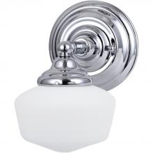 Sea Gull 44436BLE-05 - Fluorescent Academy One Light Wall/Bath in Chrome with Satin White Schoolhouse Glass