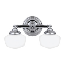 Sea Gull 44437-05 - Academy Two Light Wall/Bath in Chrome with Satin White Schoolhouse Glass