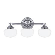 Sea Gull 44438-05 - Academy Three Light Wall/Bath in Chrome with Satin White Schoolhouse Glass