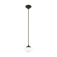Sea Gull 65436-782 - Academy Small One Light Pendant in Heirloom Bronze with Satin White Schoolhouse Glass