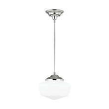 Sea Gull 6543791S-05 - LED Academy Medium One Light Pendant in Chrome with Satin White Schoolhouse Glass