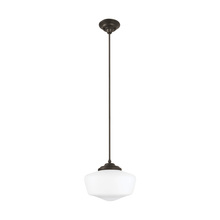 Sea Gull 65437-782 - Academy Medium One Light Pendant in Heirloom Bronze with Satin White Schoolhouse Glass