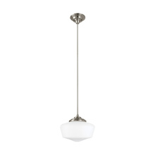 Sea Gull 6543791S-962 - LED Academy Medium One Light Pendant in Brushed Nickel with Satin White Schoolhouse Glass