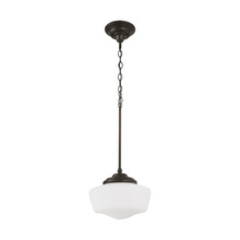 Sea Gull 65438-782 - Academy Large One Light Pendant in Heirloom Bronze with Satin White Schoolhouse Glass