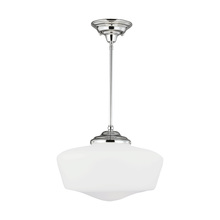 Sea Gull 6543991S-05 - LED Academy Extra Large Pendant in Chrome with Satin White Schoolhouse Glass