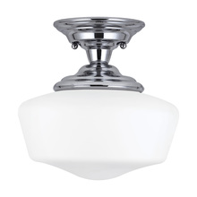 Sea Gull 77436-05 - Academy One Light Small Semi-Flush Mount in Chrome with Satin White Schoolhouse Glass