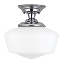 Sea Gull 77437-05 - Academy Large One Light Semi-Flush Mount in Chrome with Satin White Schoolhouse Glass