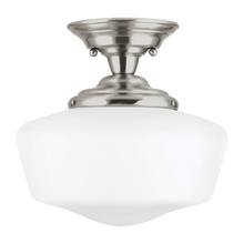 Sea Gull 7743791S-962 - LED Academy Large Semi-Flush Mount in Brushed Nickel with Satin White Schoolhouse Glass
