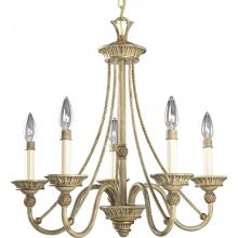 Progress P4120-42 - Five Light Seabrook Ivory Finish Candle Sleeves Glass Up Chandelier