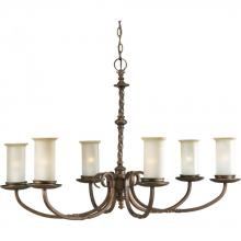 Progress P4588-102 - Six Light Roasted Java Jasmine Mist Glass Up Chandelier