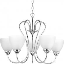 Progress P4666-15 - Five-light Polished Chrome chandelier etched glass shades