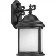Progress P5875-31WB - One Light Black  Etched, Water Seeded Glass Wall Lantern