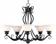 Maxim 2665MRBZ - Five Light Bronze Marble Glass Up Chandelier