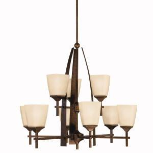 Statewide Lighting in Scottsdale, Arizona, United States, Kichler ADU6F, Nine Light Marbled Bronze Up Chandelier, Souldern