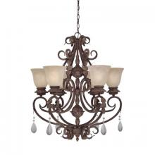 Designers Fountain 91406-AO - Six Light Ancient Oak Up Chandelier