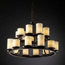Justice Design Group CNDL-8767-10-AMBR-DBRZ - Dakota 21-Light 2-Tier Ring Chandelier