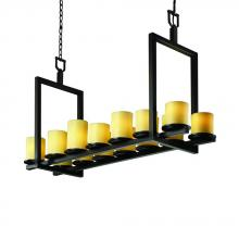 Justice Design Group CNDL-8769-10-AMBR-DBRZ - Dakota 14-Light Bridge Chandelier (Short)
