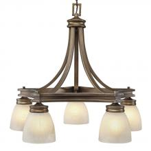 Golden 1054-D5 ST - Five Light Silvered Taupe Marbelized Linen Glass Down Chandelier