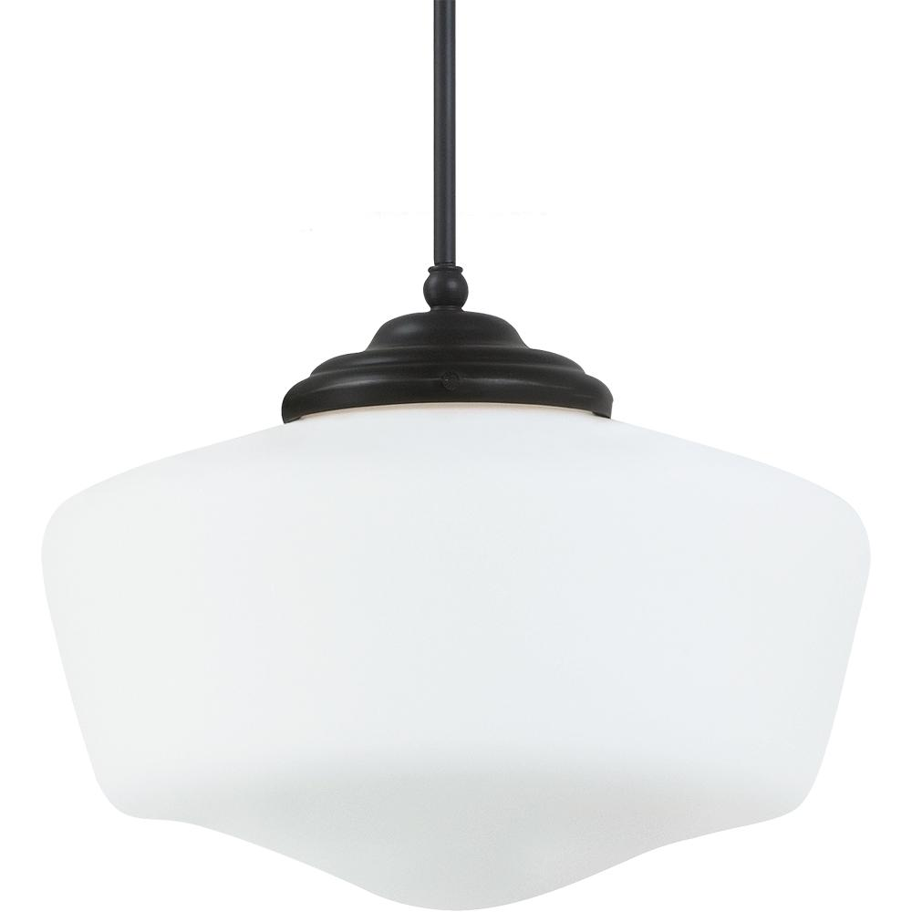 Statewide Lighting in Scottsdale, Arizona, United States, Sea Gull WKFE, Fluorescent Academy Extra Large One Light Pendant in Heirloom Bronze with Satin White Schoolhouse Gl, Academy