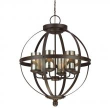 Sea Gull 3110406BLE-715 - Fluorescent Sfera Six Light Chandelier in Autumn Bronze with Mercury Glass