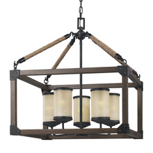 Sea Gull 3113305BLE-846 - Fluorescent Dunning Five Light Chandelier in Stardust with Creme Parchment Glass