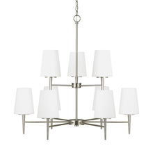 Sea Gull 3140409BLE-962 - Fluorescent Driscoll Nine Light Chandelier in Brushed Nickel with Etched Glass Painted White Inside