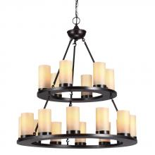 Sea Gull 31585BLE-710 - Fluorescent Ellington Eighteen Light Round Chandelier in Burnt Sienna with Cafe Tint Candle Glass