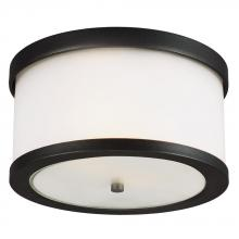 Sea Gull 7822402BLE-12 - Fluorescent Bucktown Two Light Outdoor Ceiling Flush Mount in Black with Satin Etched Glass