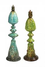 Sterling Industries 51-1633 - SET/2 EMBOSSED PINEAPPLE FINIALS