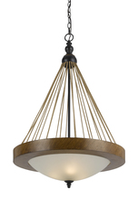 "CAL Lighting FX-3563/1P - 32"" Inch Tall Metal Pendant In Metal Wood Finish"