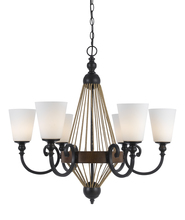 "CAL Lighting FX-3563/6 - 30.75"" Inch Tall Metal Chandelier In Metal Wood Finish"