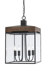 "CAL Lighting FX-3581-4 - 22.5"" Inch Tall Metal And Glass Chandelier In Dark Bronze Wood Finish"