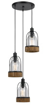 "CAL Lighting FX-3584-3 - 18"" Inch Tall Glass Pendant In Dark Bronze Wood Finish"