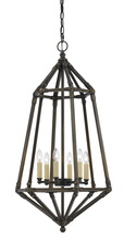 "CAL Lighting FX-3594-6 - 33"" Inch Tall Metal Pendant In Dark Bronze Finish"