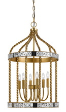 "CAL Lighting FX-3599-6 - 27.5"" Inch Tall Metal Pendant In French Gold Antiqued Mirror Finish"