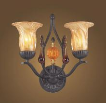 ELK Lighting 3592/2 - 2 Light Wall Bracket In Dark Rust And Amber G