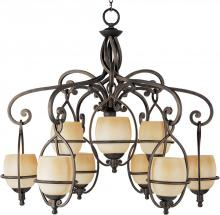 Maxim 11745WSMA - Nine Light Wilshire Glass Mahogany Up Chandelier